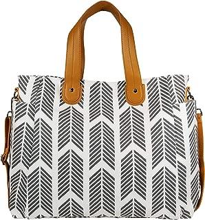 Arrows Weekender Diaper Tote Bag by White Elm (New Version) Canvas, Vegan Leather & Water Resistant Lining