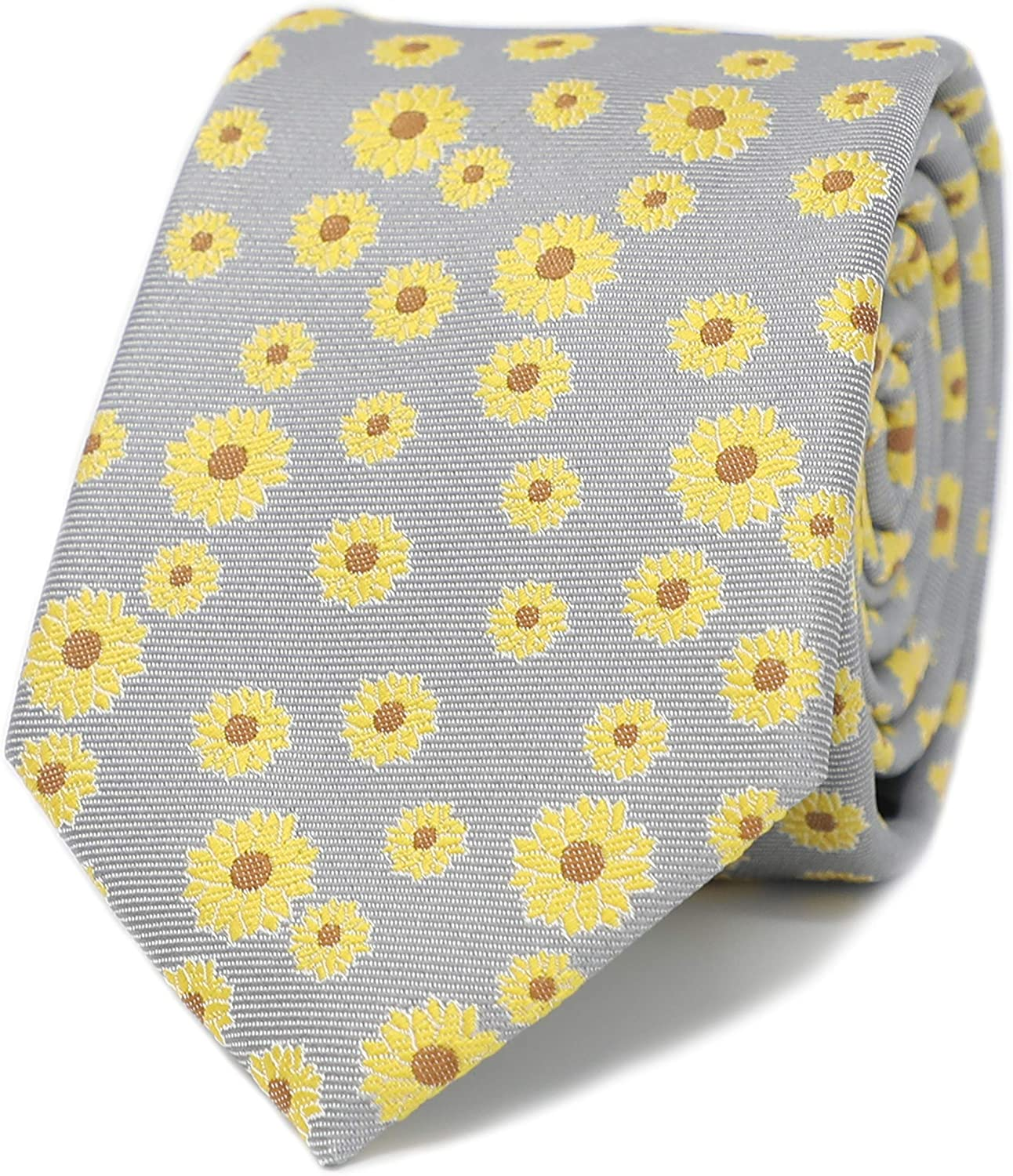 MENDEPOT Sunflower Pattern Men Necktie With Gift Box Yellow Flowers Gray Tie Father's Day Birthday Gift Neck Tie