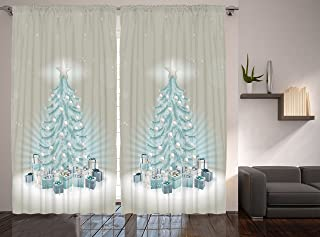 Ambesonne Christmas Curtains, Merry Xmas Themed Fir Tree with Ornate Tree Topper and Baubles, Living Room Bedroom Window Drapes 2 Panel Set, 108
