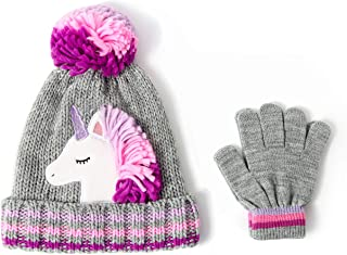 Girls Knitted Animal Beanie Winter Hat and Glove Set 4015