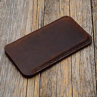 Marrón Funda De Cuero Para iPhone 8, 7, 6/6s Caja De Funda Bolsa. Cosido a mano.