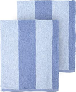 Arkwright Clear Water Cabana Striped Oversized Beach Towel Pack of 2 (30 x 70 inch, Blue)