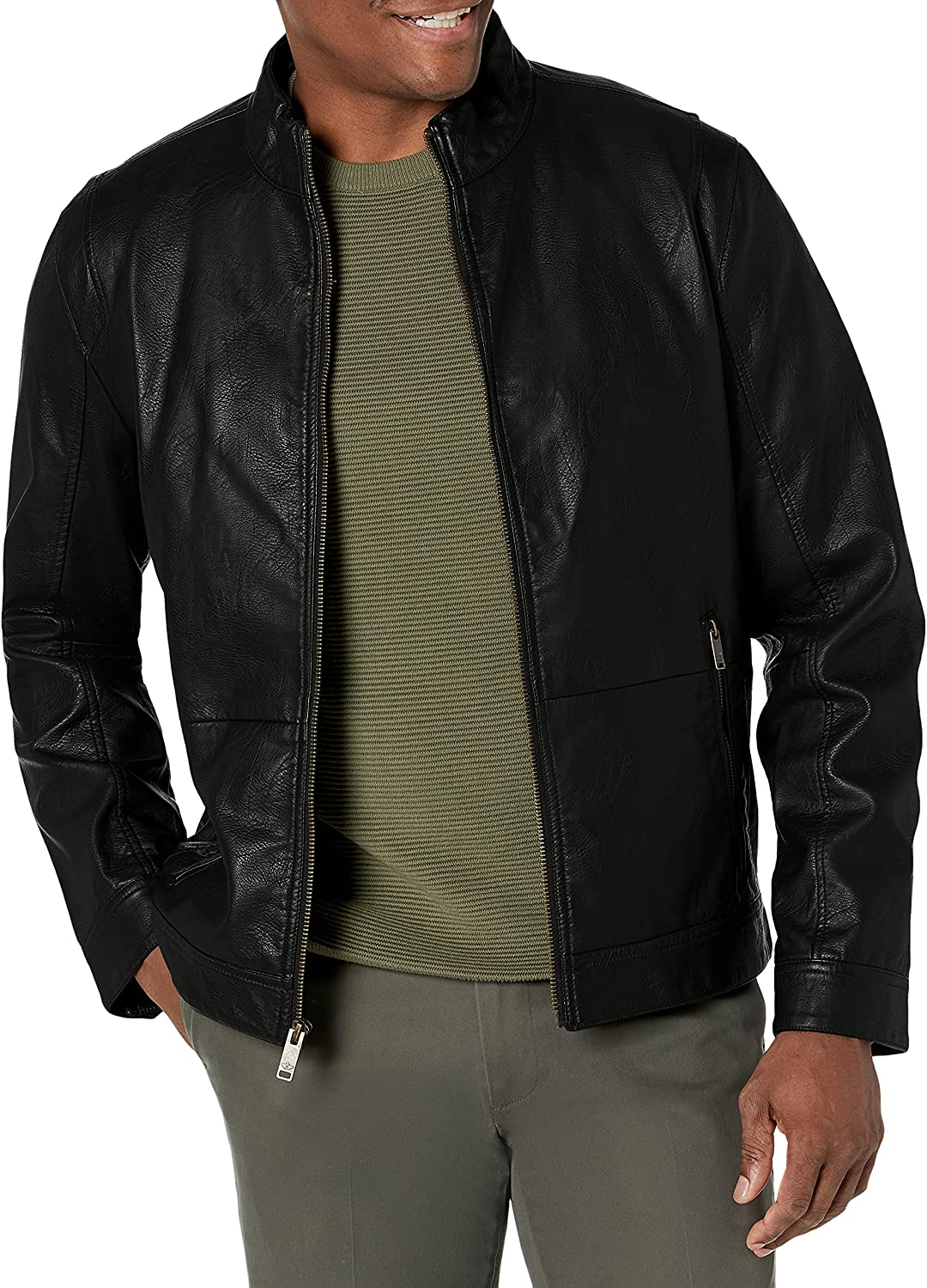 Dockers Men's The Dylan Faux Leather Racer Jacket