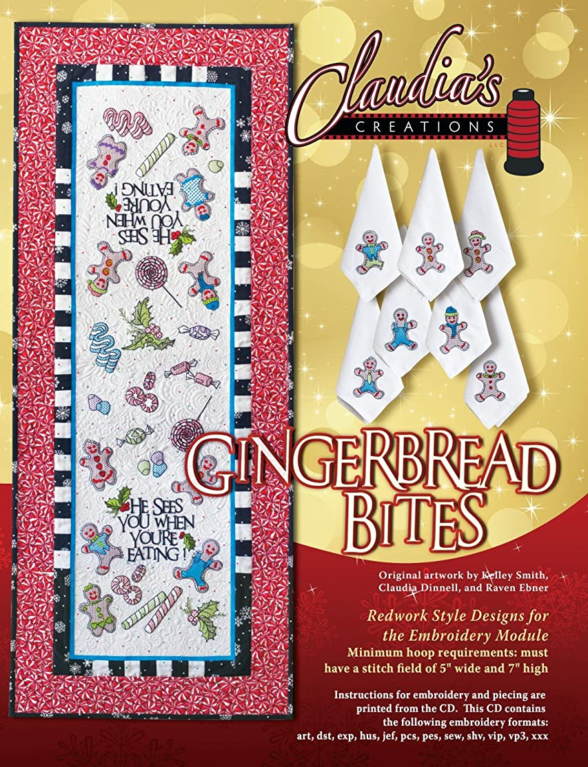 Gingerbread Bites Machine Embroidery CD by Claudia's Creations