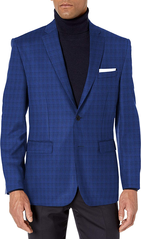 Vince Camuto Men's Two Button Modern Fit Texture Mini Check Blazer