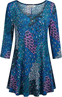 Nandashe Womens 3/4 Sleeves Floral Tunic Shirts Summer Casual Dressy Blouse Tops