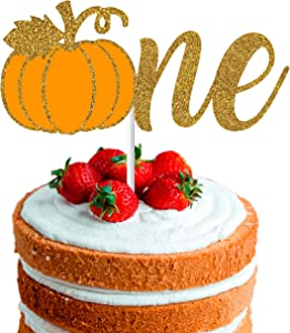 One Pumpkin Fall Cake Topper Decoration for Firts Pumpkin Birthday Party, Little Pumpkin Girl or Boy Birthday, Glittery Gold & Orange Cake Decor for Thanksgiving Halloween Theme orThe Big One Birthday