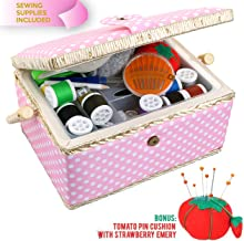 Medium Sewing Basket Organizer with Complete Sewing Kit Accessories Included, Wooden Sewing Box Kit with Removable Tray and Tomato Pincushion for Sewing Mending, Pink