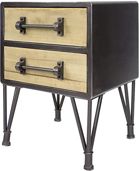 Heather Ann Creations Soho Collection Industrial Style Nightstand Table 2 Drawer Medium Black Wood
