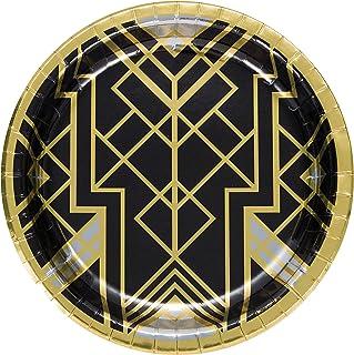 اطباق ورقية للولائم من كرياتيف كونفيرتينج، 20 قطعة، قطر 10 انش، لون اسود وذهبي