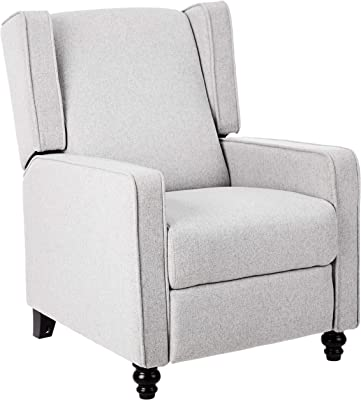 Upholstered Push Back Recliner Armchair for Living Room Nailhead Trim Home Theater Seating w//Padded Seat and Backrest Grey Bedroom HOMCOM Manual Reclining Sofa Wooden Legs