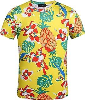 SSLR Men's Funny Short Sleeve Crew Neck Tropical Hawaiian T-Shirts