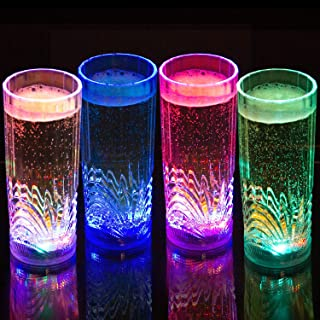 Liquid Activated Multicolor LED Highball Glasses ~ Fun Light Up Drinking Glasses - 9.5 oz. - Set of 4