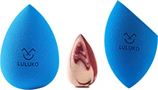 LULUKO Makeup Sponge Blender Beauty Flawless Makeup Blender for Foundations, Powders and Creams (3Pcs Blue)