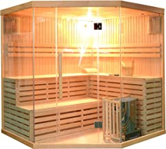 ALEKO SEA5JIU Canadian Hemlock Indoor Wet Dry Mini Sauna and Steam Room 6 kW ETL Certified Heater 5 to 6 Person 75 x 75 x 83 Inches