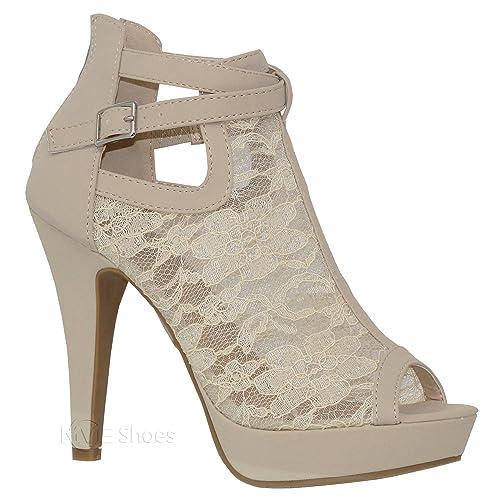 b019ba72468 MVE Shoes Women s Elegant Lace Platform Peep Toe Adjustable Ankle Strap  with Back Zipper
