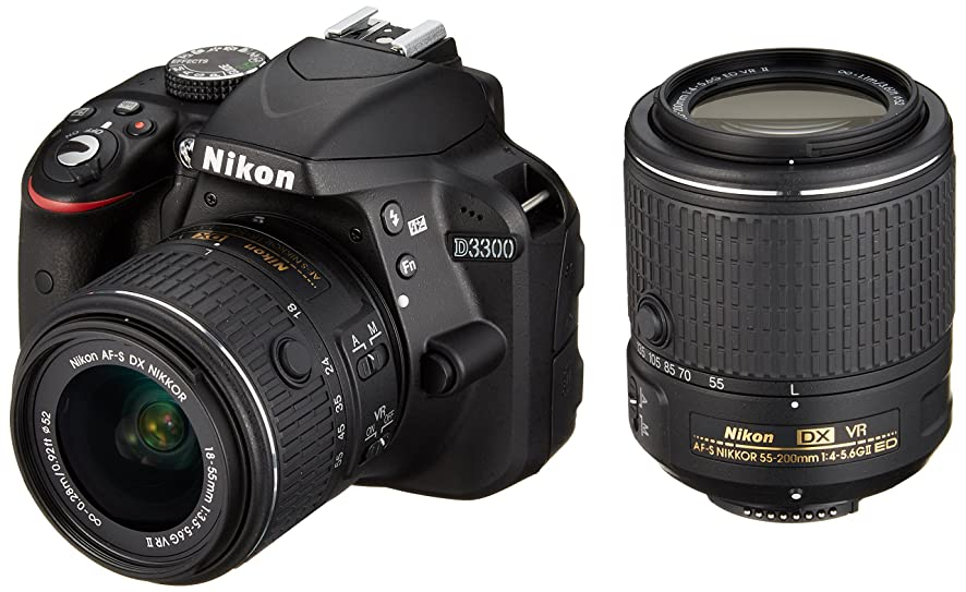 Nikon digital camera D3300 double zoom kit 18-55mm DX VR II & 55-200mm DX VR II Lenses2 Black