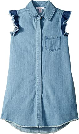 Fringe Flutter Sleeve Denim Dress (Big Kids)