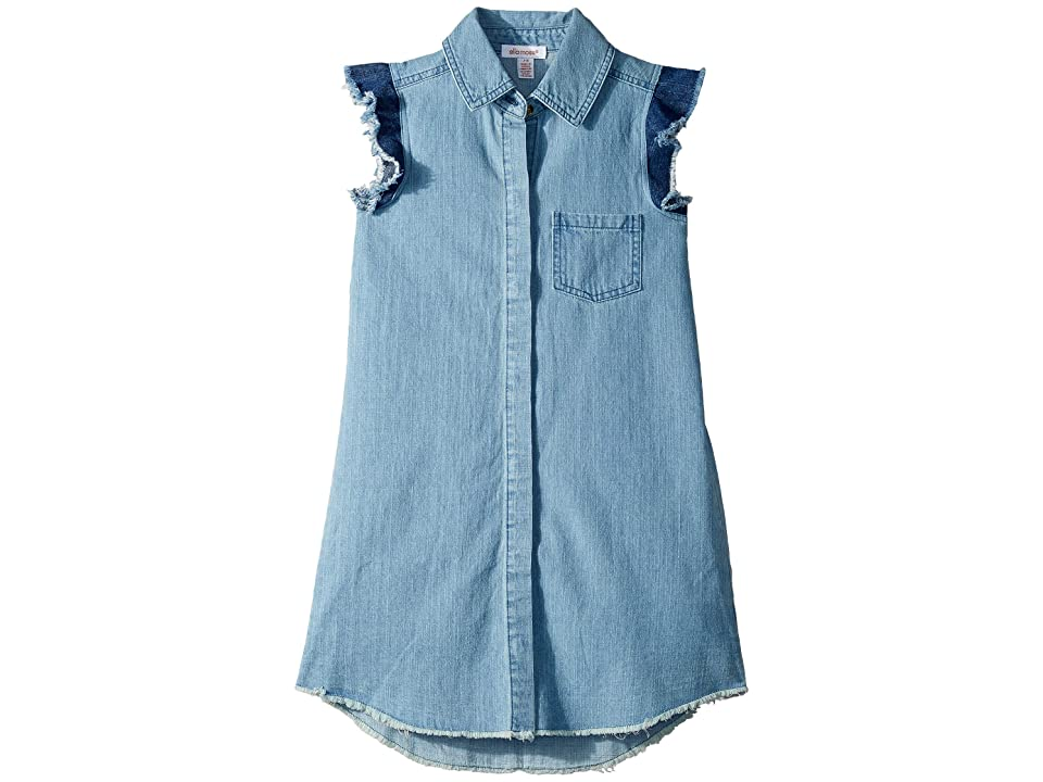 Ella Moss Girl Fringe Flutter Sleeve Denim Dress (Big Kids) (Light Stone Wash) Girl