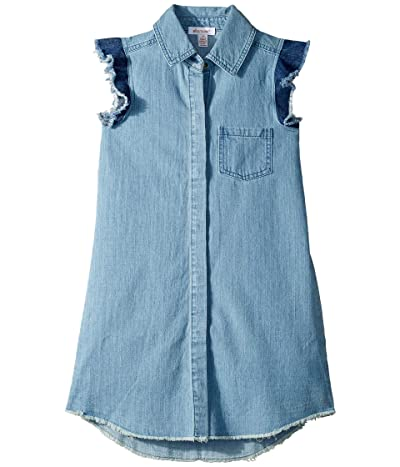 Ella Moss Girl Fringe Flutter Sleeve Denim Dress (Big Kids) (Light Stone Wash) Girl