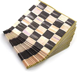 MacKenzie-Childs Courtly Check Black & Gold Paper Cocktail Napkins (20 Count)