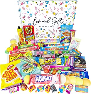 Retro Sweets Gift Box Selection Hamper | 60+ Sweet Treats & Chocolate | 80s 90s Candy Chew Bars, Dip Dab, Curly Wurly And ...
