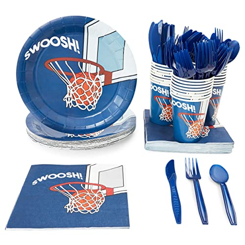 Juvale Basketball Party Supplies, Dinnerware Set for 24 Guests (144 Pieces)