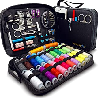 SEWING KIT? Premium Set with Over 100 Accessories & 24 Mixed Color Threads for Emergency Sewing Repairs at Home in the Off...