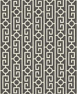Wallpaper Classic Geometric Greek Key Stripe , Gray Black Off White