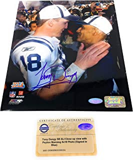 Tony Dungy Peyton Manning Indianapolis Colts Signed Autograph Super Bowl XLI 8x10 Photo Photograph Steiner Sports Certified