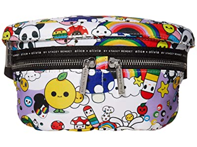 Alice + Olivia Gracie Printed Nylon Fanny Pack (Friends with You Collage/Medium White) Backpack Bags