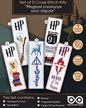 Magical Creatures and Objects - Set of 5 Cross Stitch Embroidery Bookmark Kits - Christmas Gift for Kids