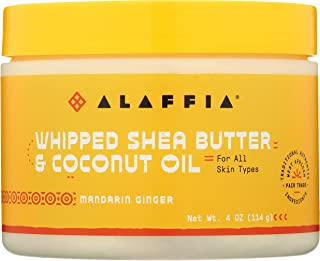 Alaffia Whipped Shea Butter and Coconut Oil, for Smooth, Soft Skin and Hair, 4 Ounce (Mandarin Ginger)