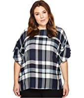 TWO by Vince Camuto - Plus Size Ruffled Short Sleeve Relaxed Broken Plaid Tee