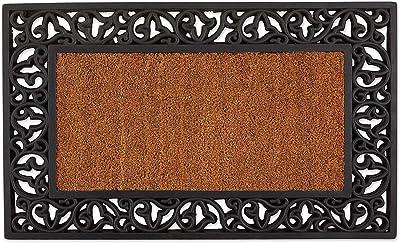DII Indoor Outdoor Rubber Easy Clean Entry Way Welcome Doormat, Leaves, 18x30