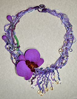 Orchid Dream - radiant orchid polymer clay and beaded necklace in freeform style. Wedding, prom, special occasion statement necklace