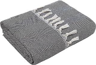 Mixibaby Couverture couvre-lit plaid réversible pour canapé - Couleur : noir - Motif : à chevrons