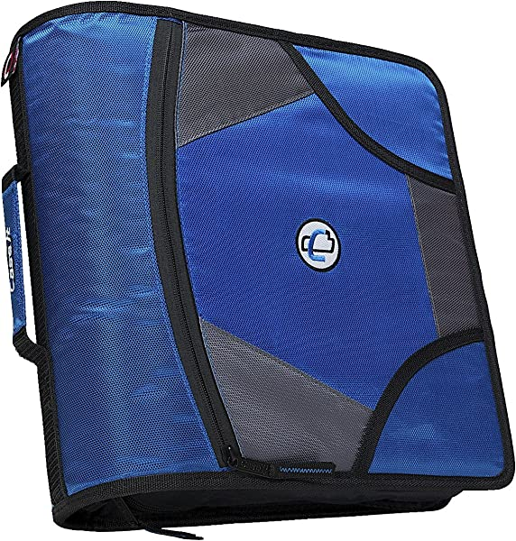 Case It Zipper Binder With 5 Tab Files D Ring 4 Inches Blue