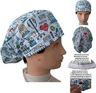 Cappelli per chirurgia STRUMENTI MEDICI per Capelli Lunghi Infermiera Dentista Veterinaria. Striscia assorbente anteriore ...