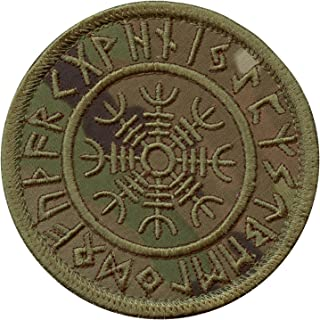LEGEEON Multicam Aegishjalmur Helm of Awe Viking Norse Runic Heathen Magical Stave Morale Tactical Sew Iron on Patch