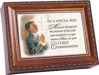 Cottage Garden First Communion Special Boy Woodgrain Rope Trim Jewelry Music Box Plays Friend in Jesus