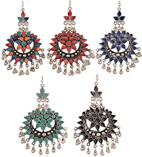 4d749529b Lava Kraft Afghani Multicolor Metal Dangler Chandbali Minakari Combo Of 5  Pairs Earrings For Women