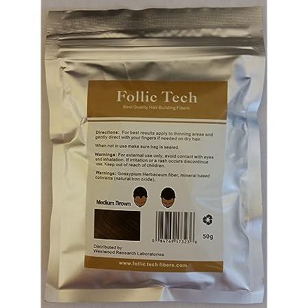 Follic Tech Hair Building Fibers 58 Grams (Medium Brown)