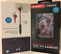BLUETOOTH STEREO Stay-Fit Earbuds ( RED)