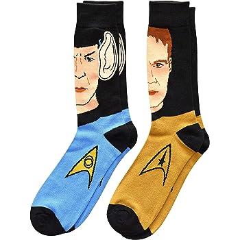 Star Trek Spock with Embellished Ears and Kirk Men's Crew Socks 2 Pair Pack