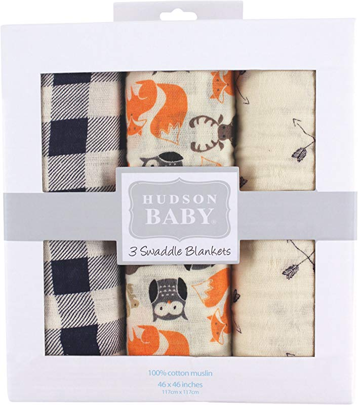 Hudson Baby Unisex Baby Muslin Swaddle Blankets Woodland Creatures 3 Pack One Size