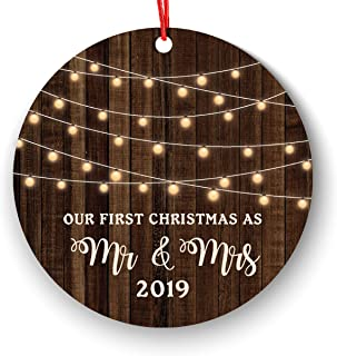 First Christmas as Mr & Mrs Ornament 2019, Rustic 1st Married Christmas Ornament, First Married