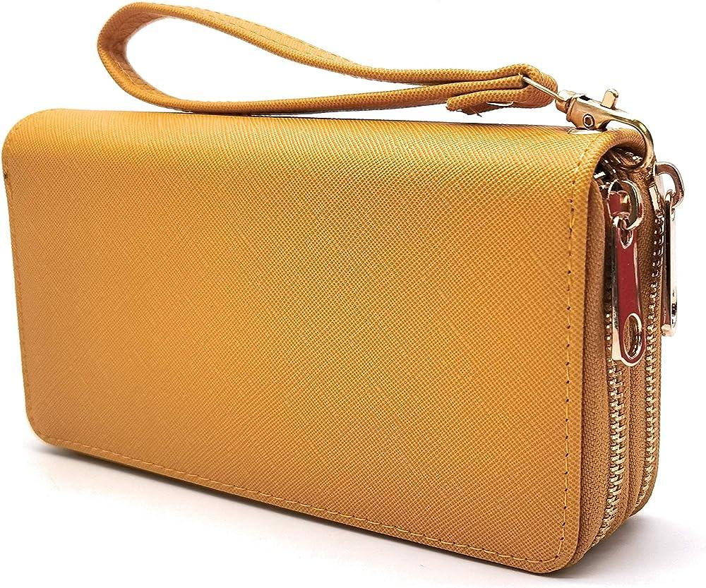Eliox, portafoglio da donna, con portamonete, porta carte di credito, in pelle sintetica, giallo 2