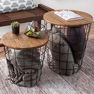 Lavish Home 80-ENDTBL-2 (Set of 2) Nesting End Storage Convertible Round Metal Basket Wood Veneer Top Accent Side Tables, ...