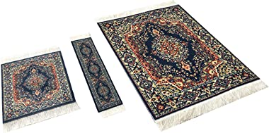 Set of Rug Mouse Pad + Coaster + Bookmark - Oriental Style Carpet Mousemat Miniature Rug (Dark Blue)